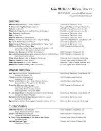 Musical Theater Resume Sample by Musical Theatre Resume Template Examples