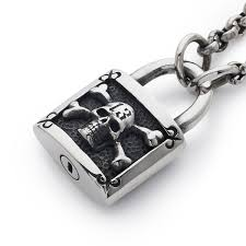 chain lock necklace images Large padlock pendant with chain the great frog jpg