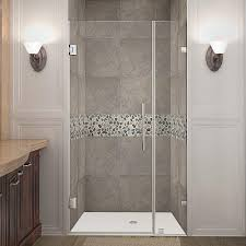 34 Shower Door Aston Nautis 34 In X 72 In Frameless Hinged Shower Door In