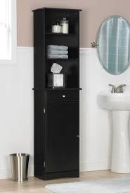 Open Shelving Bathroom by Bathroom Ideas Black Stained Wood Tall Free Standing Bathroom