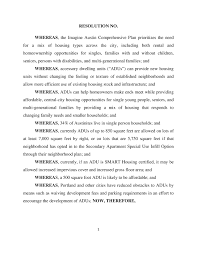 city council resolution on accessory dwelling units hancock