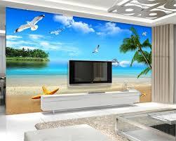 high quality beach wall murals buy cheap beach wall murals lots beibehang 3d wallpaper sea seaside scenery beach mediterranean style seagull starfish conch palm photo wall mural