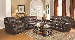 Brown Leather Recliner Sofa Set Coaster Sir Rawlinson Traditional Reclining Sofa With Nailhead