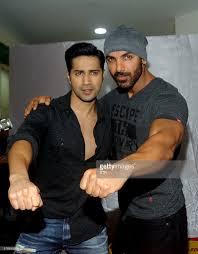 john abraham indian bollywood actors varun dhawan l and john abraham pose for