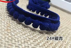 navy blue lace ribbon generic cheap pompom lace trim colorful pom pom trim ribbon