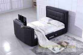 Kingsize Tv Bed Frame Bed Tv Lift King Size Leather With In Footboard Mount Decor 1
