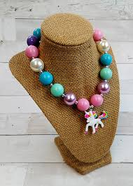 chunky bead necklace images The hair bow company unicorn chunky bead necklace for girls jpg