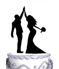 high five cake topper meijiafei and groom high five with flowers silhouette