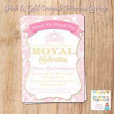 pink gold damask princess carriage invitation birthday or