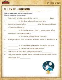 fill u0027em up u2013 astronomy u2013 4th grade science worksheet of