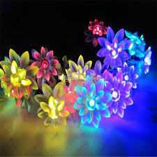 battery powered outdoor led string lights solar power lotus flower led strings light christmas fairy lights