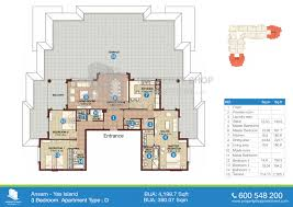 Floor Plans For Apartments 3 Bedroom by Floor Plan Of Ansam Yas Island