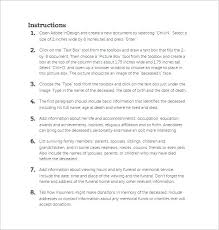 obituary template u2013 9 free word excel pdf format download