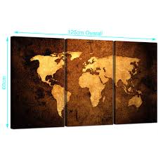 World Map Canvas Vintage World Map Canvas Wall Art Set Of 3 For Your Bedroom
