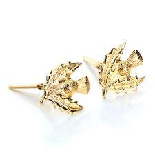 andralok earrings andralok 9ct yellow gold thistle stud earrings jewellerybox co uk