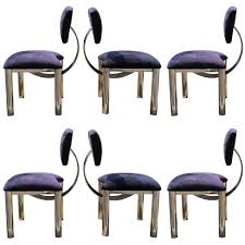 set of six memphis style chrome dining chairs in style of ettore