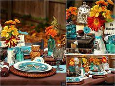 fall eclectic table setting ideas thanksgiving teal and brown