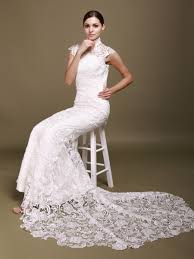 mermaid wedding dress with lace cap sleeves