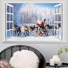 window forest christmas deer santa 3d wall art sticker in 48 5 window forest christmas deer santa 3d wall art sticker colormix 48 5 72cm