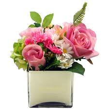 White Roses In A Vase Pink Artificial Daisies Roses White Cube Vase U2013 Coco Eden