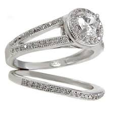 ss wedding ring sterling silver wedding set halo cz engagement ring and band size