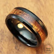 mens wooden wedding bands black tungsten carbide bevelled edge ring with koa wood inlay