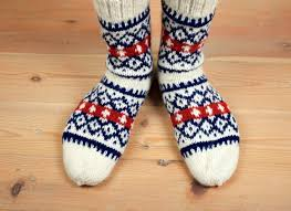 hand knit wool socks with nordic patterns wool socks