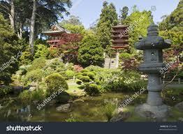 Botanical Gardens Golden Gate Park by Lantern Two Pagodas Japanese Tea House Stock Photo 3554496