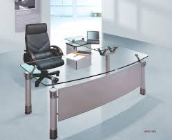 Home Office Computer Desk Glass Top Silver Tone Metal Base Modern Home Office Desk Intended