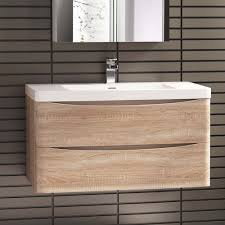 Oak Bathroom Furniture 900 X 500mm Modern Oak Bathroom Vanity Unit U0026 Stone Counter Top