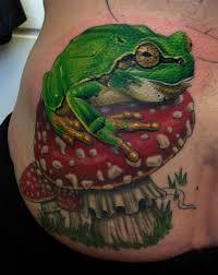 frog on amanita muscaria tattoonow