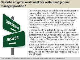 Restaurant General Manager Job Description Resume by Restaurant General Manager Interview Questions