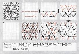 zentangle pattern trio curly braces trio tangle pattern by perfectly4med tangle step