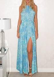 light blue halter maxi dress light blue floral drawstring draped slit halter neck bohemian maxi
