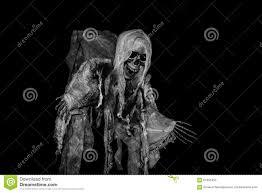 ghost on halloween skeleton in black background stock photo