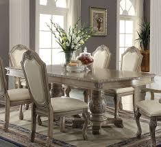 Acme Dining Room Set Acme Chateau De Ville Antique White 7 Pc Pedestal Dining Table Set