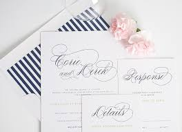 Navy Blue Wedding Invitations Navy Blue Wedding Invitations With Script Names And Green Belly