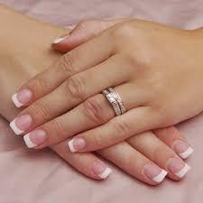 bridal ring sets princess cut cubic zirconia bridal ring set with side stones
