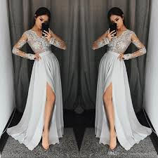 silver grey long sleeve prom dresses long v neck appliques lace