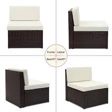 Good Rattan Specification Ikayaa 6pcs Rattan Balcony Patio Lawn Sofa Set Garden Furniture