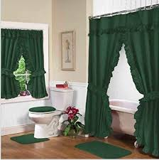 Hunter Green Window Curtains by Hunter Green Double Swag Shower And Window Curtain Set With Liner