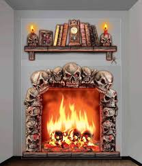 Flame Decorations 2 Giant Haunted House Wall Decorations Fireplace Skulls Halloween