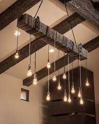 Vintage Dining Room Lighting Rustic Wooden Beam Industrial Chandelier Antique Ladder Beams