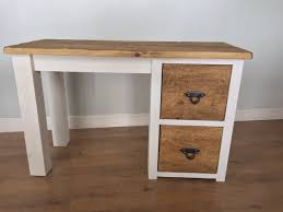 Rustic Wooden Desk The Authentic Painted Single Pedestal Dressing Table Desk Kubek
