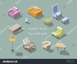 Modern Livingroom Furniture Vector Isometric Set Modern Living Room Stock Vector 521275582