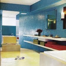 Blue Glass Tile Bathroom Bold Bathroom Color