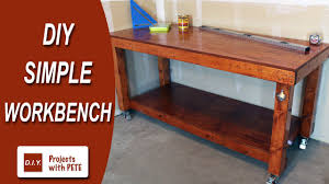 Free Simple Wood Workbench Plans by Diy Simple Workbench Woodworking Bench Youtube