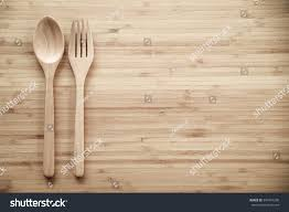 Wooden Kitchen Table Background Vintage Tone Wooden Spoon Fork On Stock Photo 397481290 Shutterstock