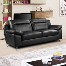 Leather Modern Sofa by Nuvola Italian Inspired Black Leather Modern Sofa Collection