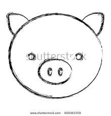 blurred sketch silhouette face cute pig stock vector 609363359
